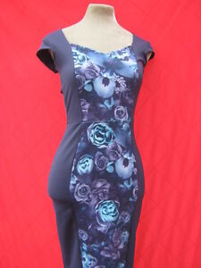 Navy-Blue-Purple-Floral-hourglass-illusion-wiggle-dress-8-10-50s-pinup-Starlet