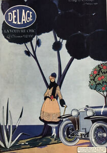 1925 DELAGE Vintage Antique Original Print AD Luxury auto art French RG Gautier