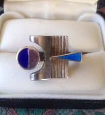 Stunning Vintage 1960s 70s UNO A ERRE Italy Sterling & Enamel Modernist Ring