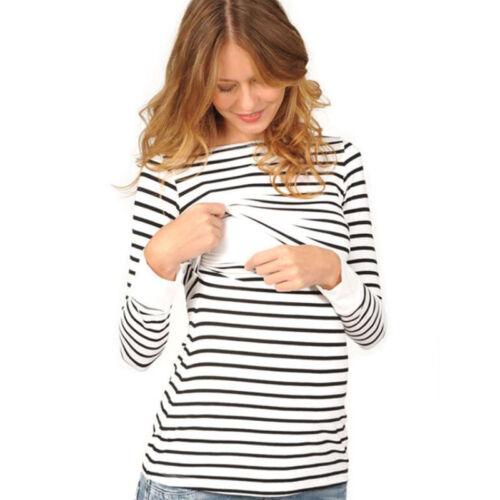Women Breastfeeding T-Shirt Striped Long Sleeve Nursing Tops New