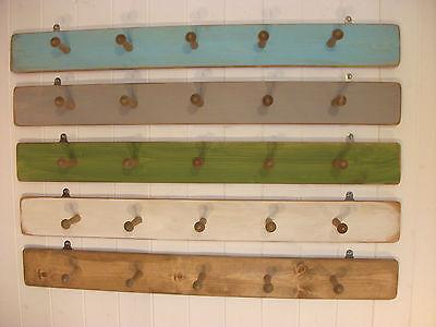 Large Wooden Wall Mounted Coat Hooks Rack Hat Rack Storage White Shabby Chic NEW