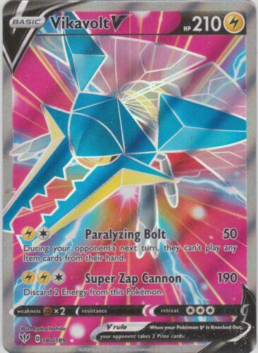 Pokemon TCG SS Darkness Ablaze 180//189 Vikavolt V Full Art Rare Card