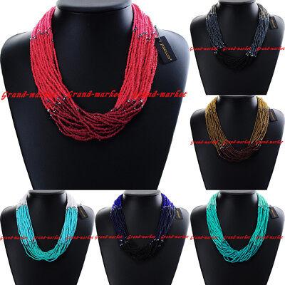 Fashion Jewelry Chain Resin Seed Beads Collar Choker Chunky Pendant Bib Necklace