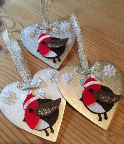 1 x Handmade Robin Noël Suspendu Décorations avec flocons de neige argent