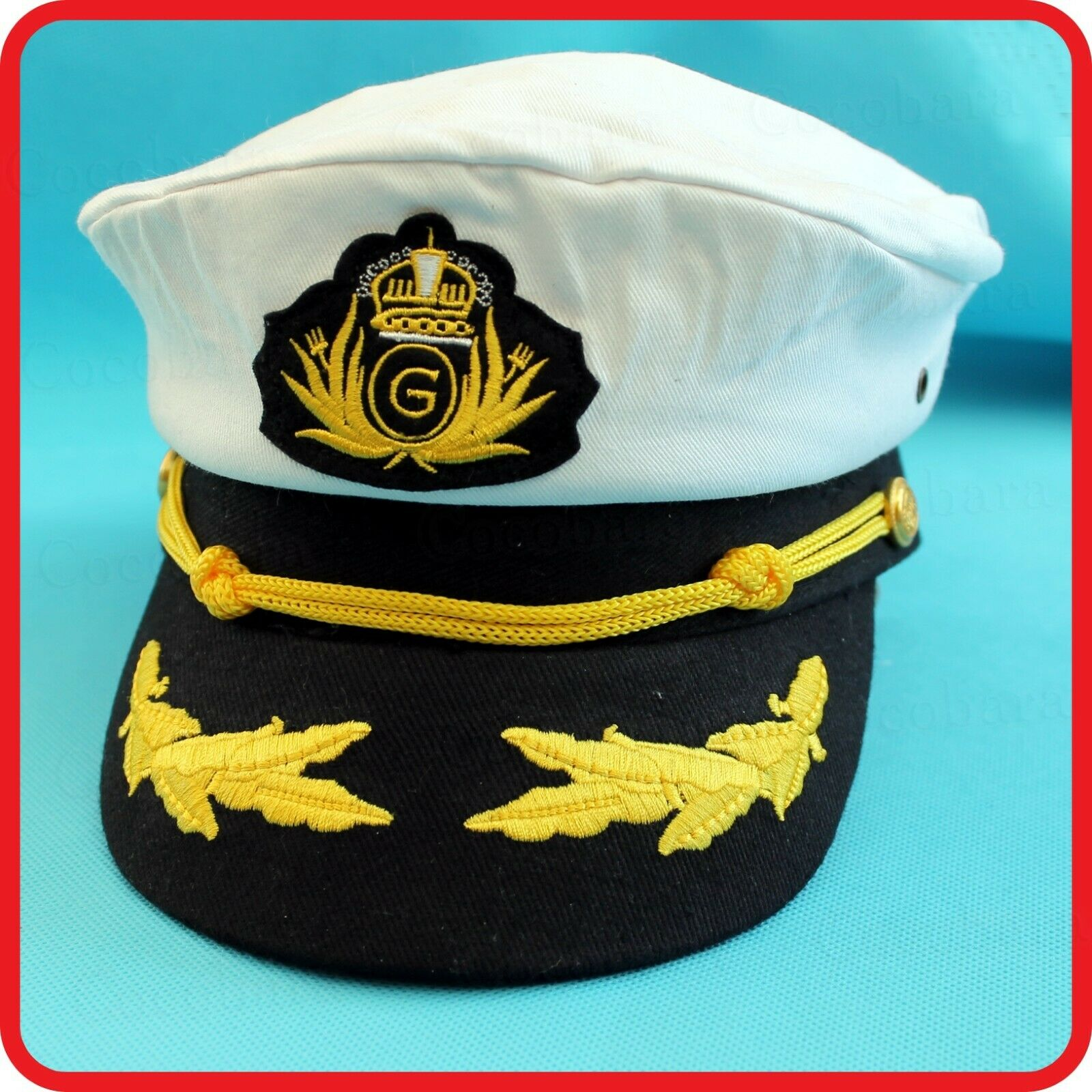 CHILDREN / ADULTS WHITE CAPTAIN HAT G -PILOT,AIR FORCE,NAVY,YACHT,SKIPPER,SAILOR
