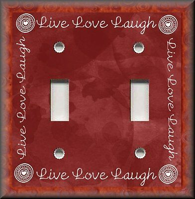 Primitive Home Decor - Metal Light Switch Plate Cover - Live Love Laugh Red