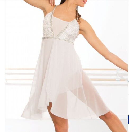 In Stock White Sequin Short Lyrical Contemporary Dress Dance Costume All Sizes