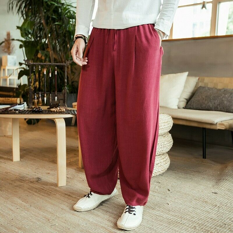 2019 Men's Stylish Loose Flax Casual Pants Solid Pantalettes Comfort Trousers