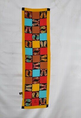 Orange Multi Bob Mackie Cowboy Boot Print Oblong Silk Scarf