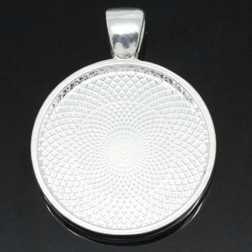 2 Pc Charm Pendants Round Silver Plated Cabochon 25mm Dia 3.6x2.8cm LC3570