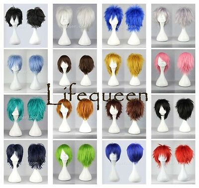 HOT! 16 Colors Fashion Short Straight Man Wig Cosplay Party Wigs + Gift