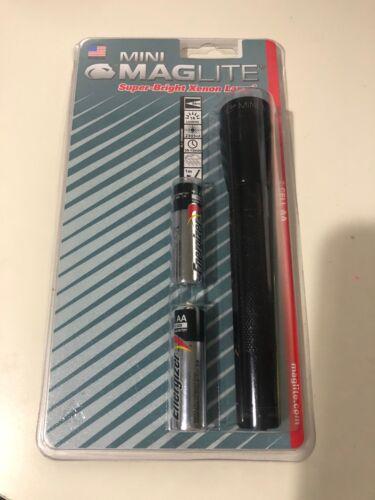 Mini Maglite 2-Cell Energizer AA Piles Lumière Flash Noir Nouveau