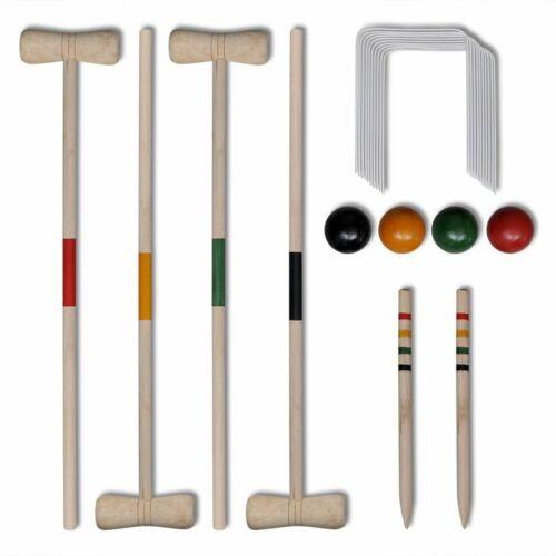 4 Player Wooden Croquet Set Beach Kids Toys Adult Fun Outdoor Garden Games Toy
