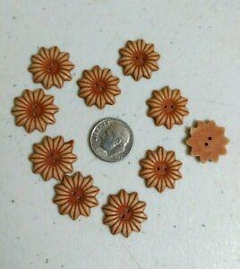 """Scrapbook Doll 18mm 1498 Lot of 10 SUNFLOWER 2-hole 3D ABS Buttons 9//16/"""""""
