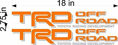 Orange Vinyl Truck Bed Replacement Decal Stickers TOYOTA TRD Off Road PAIR