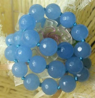 NOBLE 10MM FACETED BLUE BRAZILIAN AQUAMARINE GEMS ROUND BEADS NECKLACE 18""