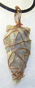 UNIQUE-HAND-CRAFTED-COPPER-WIRE-WRAPPED-CARVED-AGATE-ARROWHEAD-PENDANT-2-1-4-IN