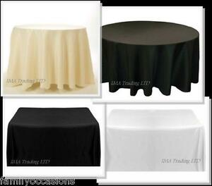 Noir-Blanc-en-Polyester-Ivoire-Nappe-Table-De-Mariage-Housse-en-tissu-rond-rectangle