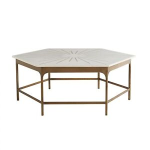 44 Long Coffee Table Contemporary Antique Brass White Gold Iron