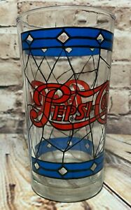 Vintage-Genuine-Pepsi-Cola-Tiffany-Style-Stained-Drinking-Glass-5-034-Tall