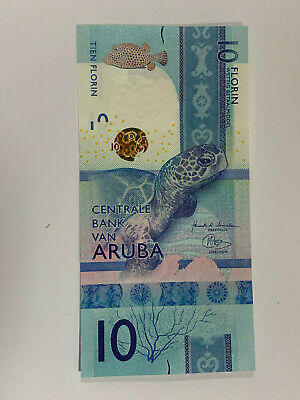 Aruba 10 Florin 2019 Uncirculated Banknote P New Blue Color w//Green Sea Turtle