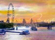 "Original Alan Reed Acuarela ""London Eye"" Landmark Río Támesis Ciudad Pintura"