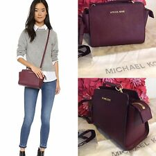BNWT Michael Kors Merlot/Wine Red Medium Selma Messenger Crossbody Bag Prezzo Consigliato £ 220