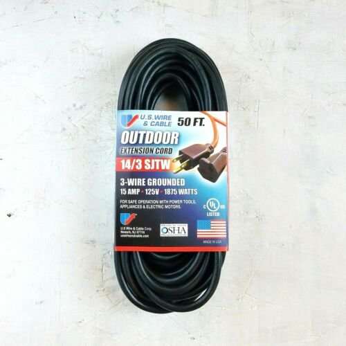 MADE IN USA 50/' 14 Gauge Black Extension Cord With Single Outlet