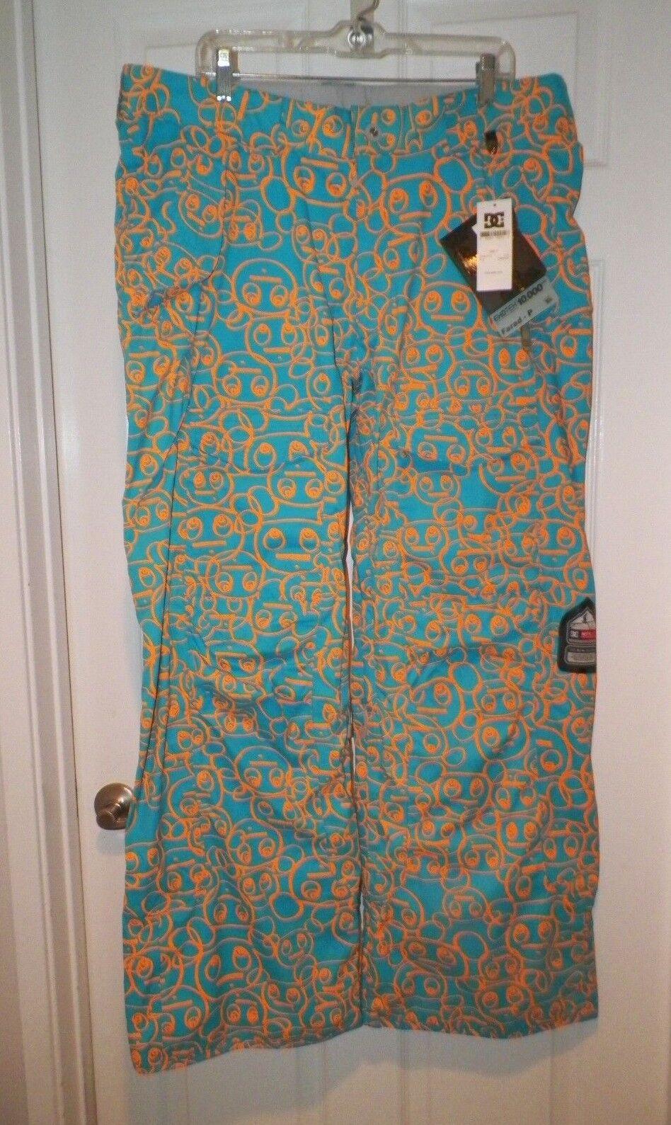 WOMEN'S DC TURQUOISE orange FARAD EKO TEK 1OOOO SERIES SKI PANTS SIZE S & XL