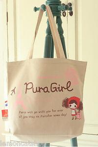Pura Girl Big Bolson Para Las Compras Con Dibujo Kawaii De Dibujos