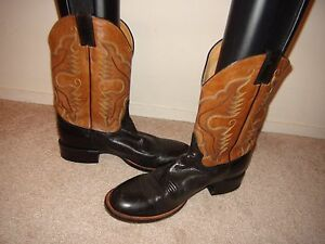 justin boots 2 tone brown black leather western cowboy