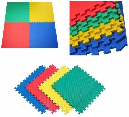 8Pcs Interlocking Multicolor Look Foam Eva Mat Floor Tiles Kid Play Mats 60x60cm