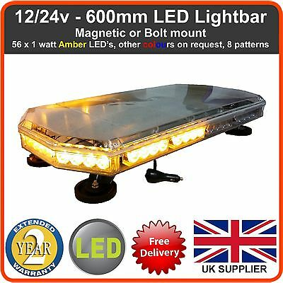 12v Amber LED Recovery Light bar Flashing Beacon Truck Light Strobes 600mm