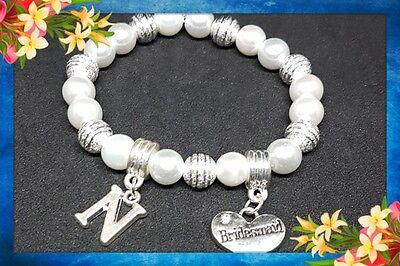 Flower Girl Thank you Present Personalised Pearl Bracelet Wedding,Bridesmaid