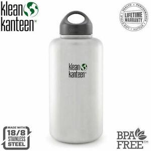 KLEAN KANTEEN 64oz 1900ml BRUSHED STAINLESS WIDE MOUTH LOOP CAP BPA Free Bottle
