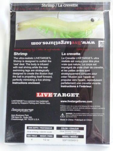 """Live Target Lures Koppers Shrimp Slow Sinking 4/"""" Glow Shrimp 4 Pk SSF100SK913"""