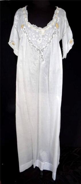 RARE PLUS SIZE ANTIQUE EDWARDIAN LONG HAND EMBROIDERED WHITE COTTON NIGHTGOWN