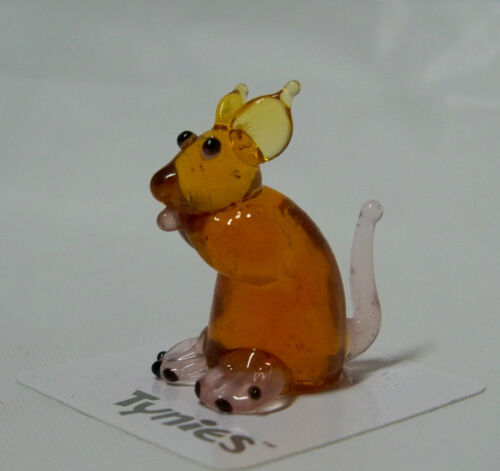 MIK MICE BROWN TYNIES Tiny Glass Figure Figurines Collectibles 0065