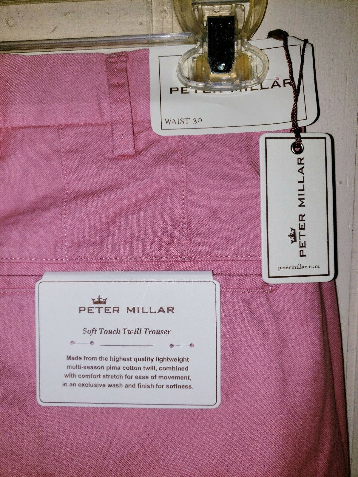 Peter Millar Soft Touch Twill Trouser Pants Mens 30×36 NWT  Lanai Pink
