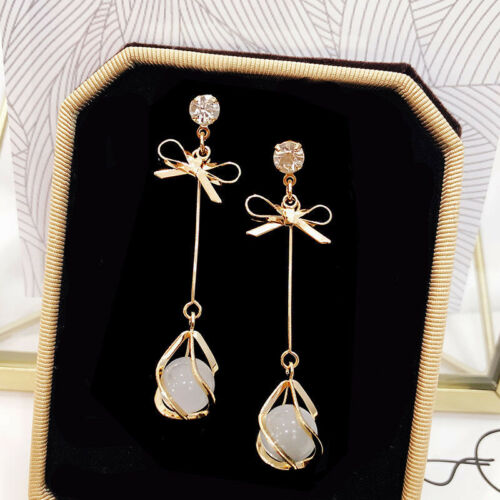 Women Girls Gold Plated Crystal Moonstone Drop Dangle Chain Earrings Jewelry