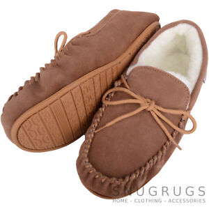 02df4db75b3 Image is loading SNUGRUGS-MENS-GENUINE-SUEDE-MOCCASIN-SHEEPSKIN-SLIPPERS -HARD-