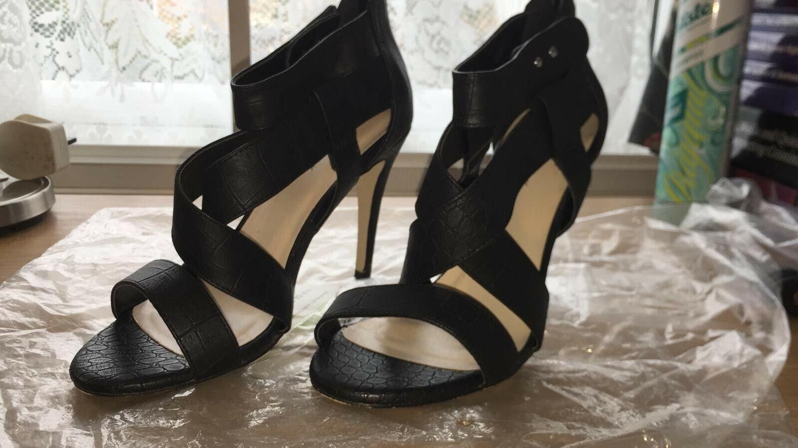 Women's Black New Look Stiletto Heels Crocodile Skin Effect shoes Size 6 Cheap