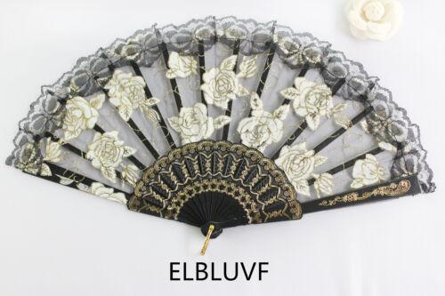 Spanish Black Flower Floral Fabric Lace Folding Hand Dancing Fan Summer Favor