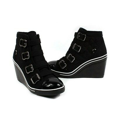 Womens Wedge Heel Lace Up Fashion Sneakers  Shoes Canvas High Top BWW-BK Us 6~8