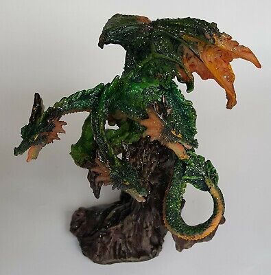 Three Headed Green Dragon Statue Figurine With Sparkles 4 5 Inches Ebay