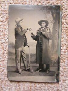 Original Tintype Photo of Two Cowboys in Studio - Pistol / Drinking