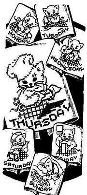 Vintage Embroidery transfer repo 2975 Cross Stitch words for Days of the Week