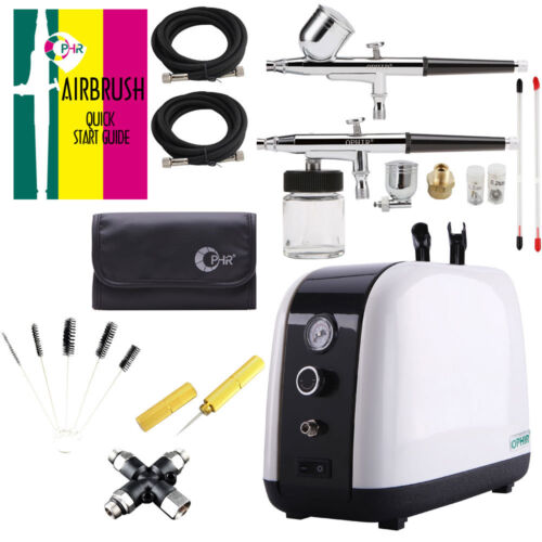 110V Airbrush Kit w Air Compressor Tank for Beauty Salon Body Facial Care Serum