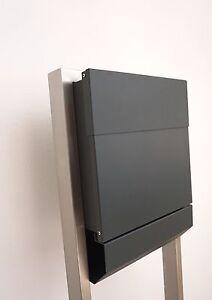 briefkasten standbriefkasten alu ral 7016 edelstahl anthrazit ebay. Black Bedroom Furniture Sets. Home Design Ideas