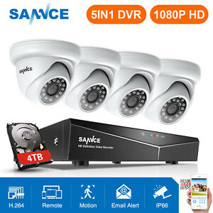 SANNCE-2-4pcs-1080P-Security-Camera-4CH-CCTV-DVR-Home-Surveillance-System-Remote